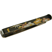 Japanese Motif Color Contrast Tie Clip Marked Silver