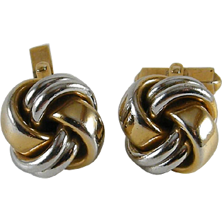 Vintage Swank Knot Cufflinks Gold and Silver Color