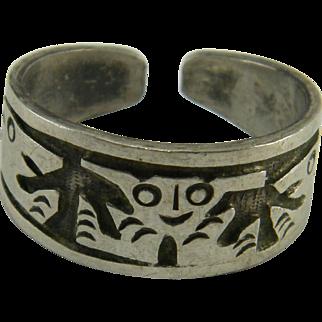 Pre-Columbian Motif  800 Silver Overlay Ring Ecuador