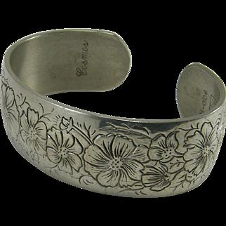 Kirk Pewter Cuff Bracelet Flower Month October  Cosmos