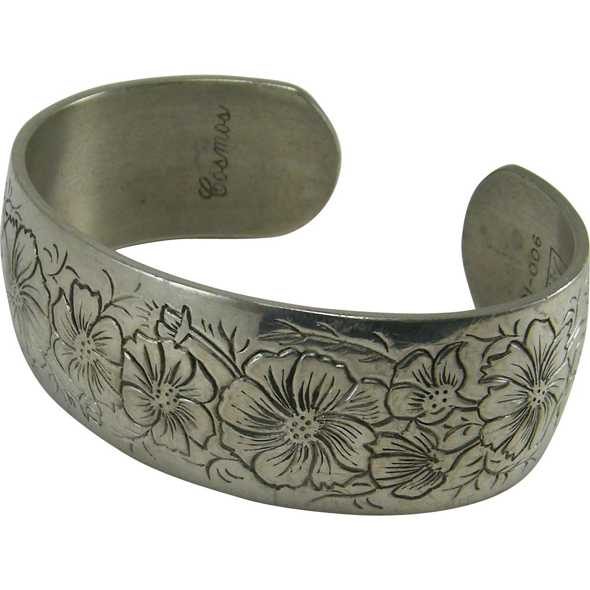 Kirk Pewter Cuff Bracelet Flower Month October  Cosmos