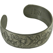 Kirk Pewter Cuff Bracelet Flower Month August  Poppy