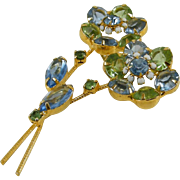 Juliana D&E Flower Brooch Blue Green Rhinestones