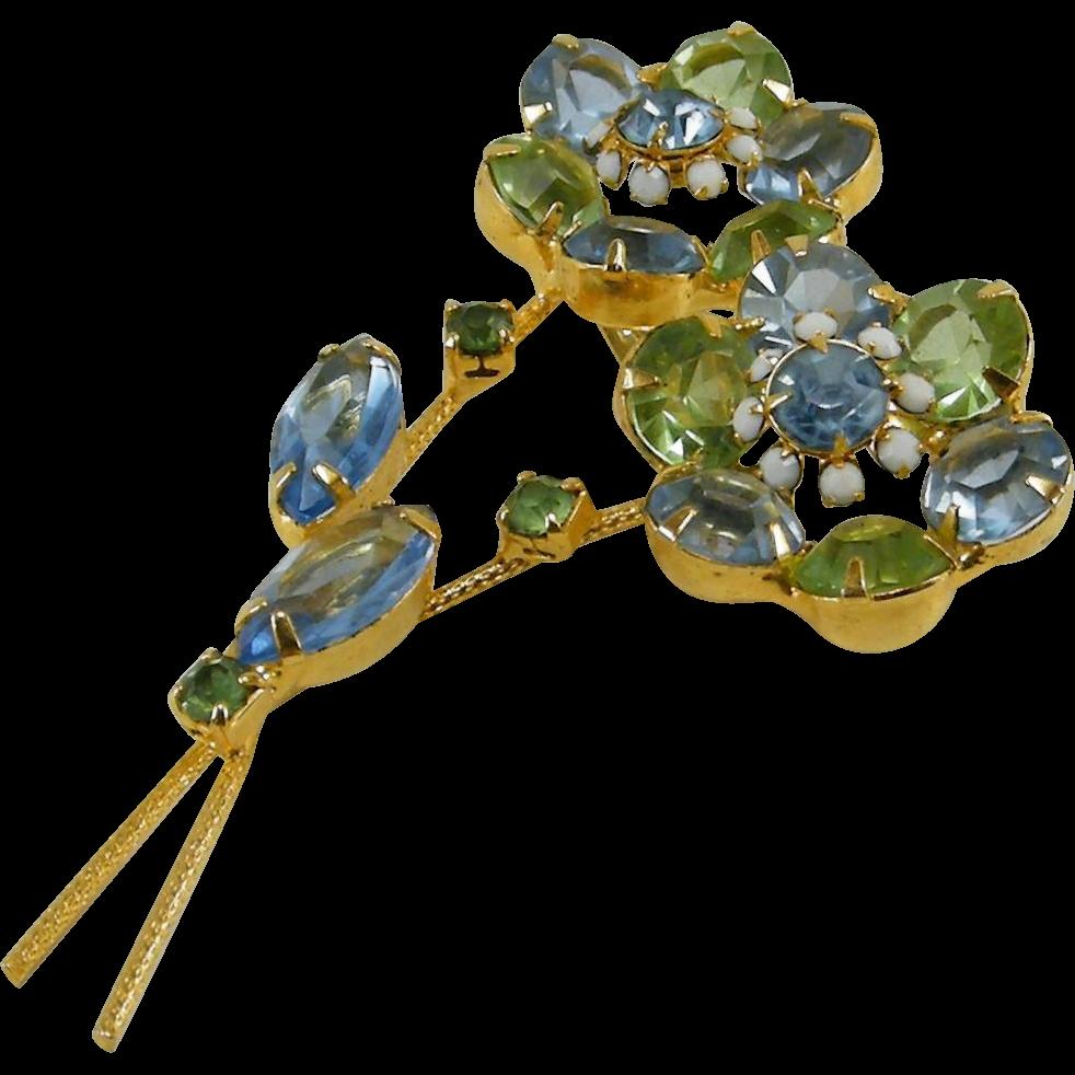 Juliana D&E Flower Brooch Blue Green Rhinestones