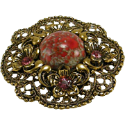 Vintage Filigree Art Glass Pin Applied Flowers Rhinestones