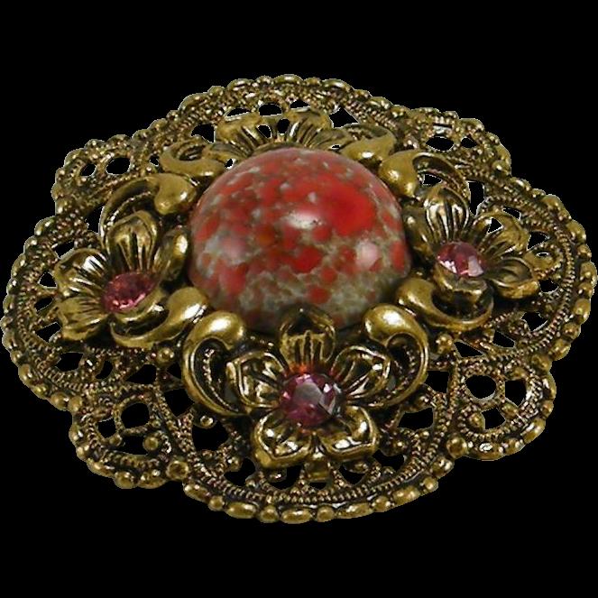 Vintage Filigree Art Glass Pin Applied Flowers Rhinestones