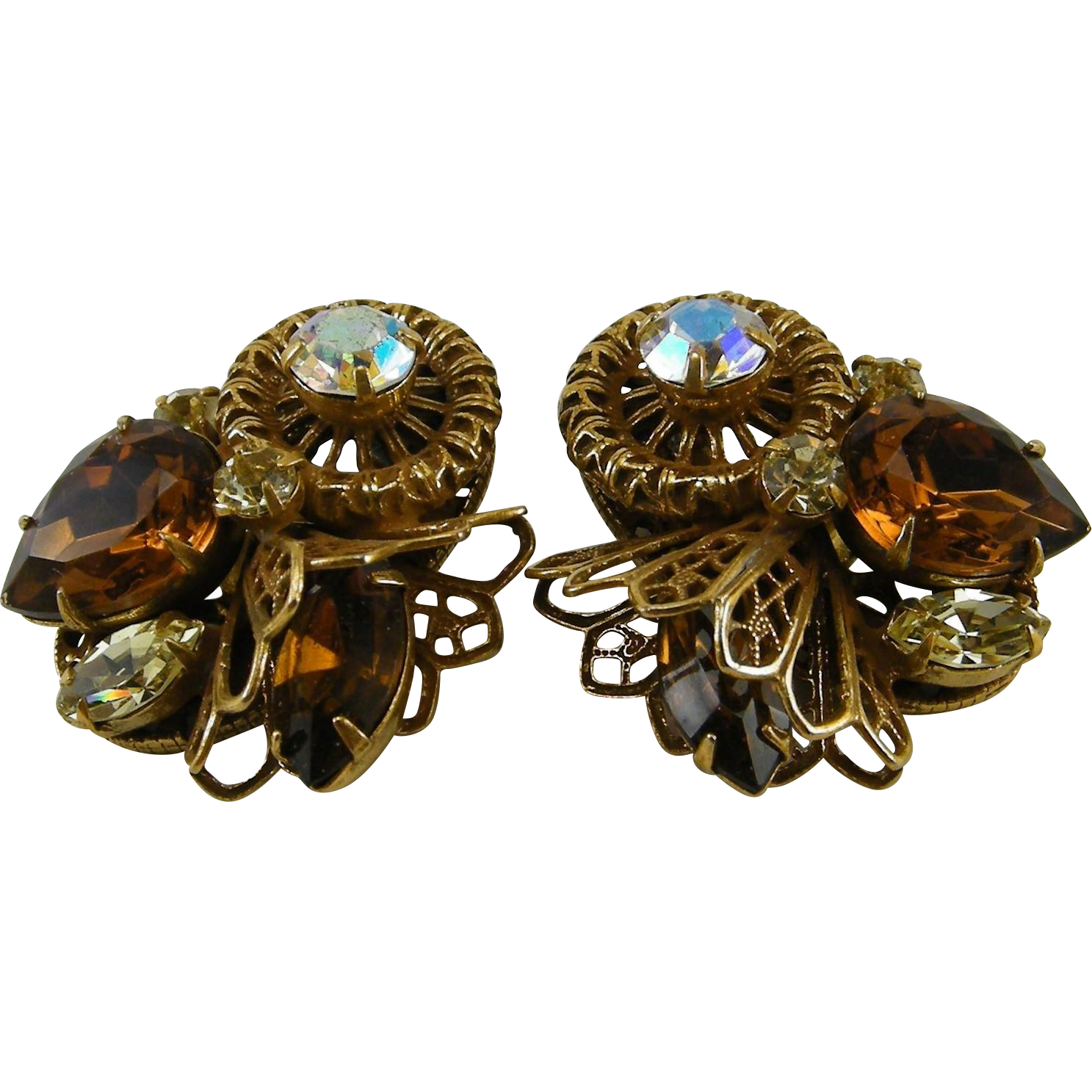 Dimensional  Filigree Fan & Medallion AB & Rootbeer Pear  Rhinestones Earrings