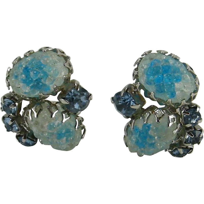Frosted Clear & Aqua Molded Glass Cabochon Earrings Blue Rhinestone Accents