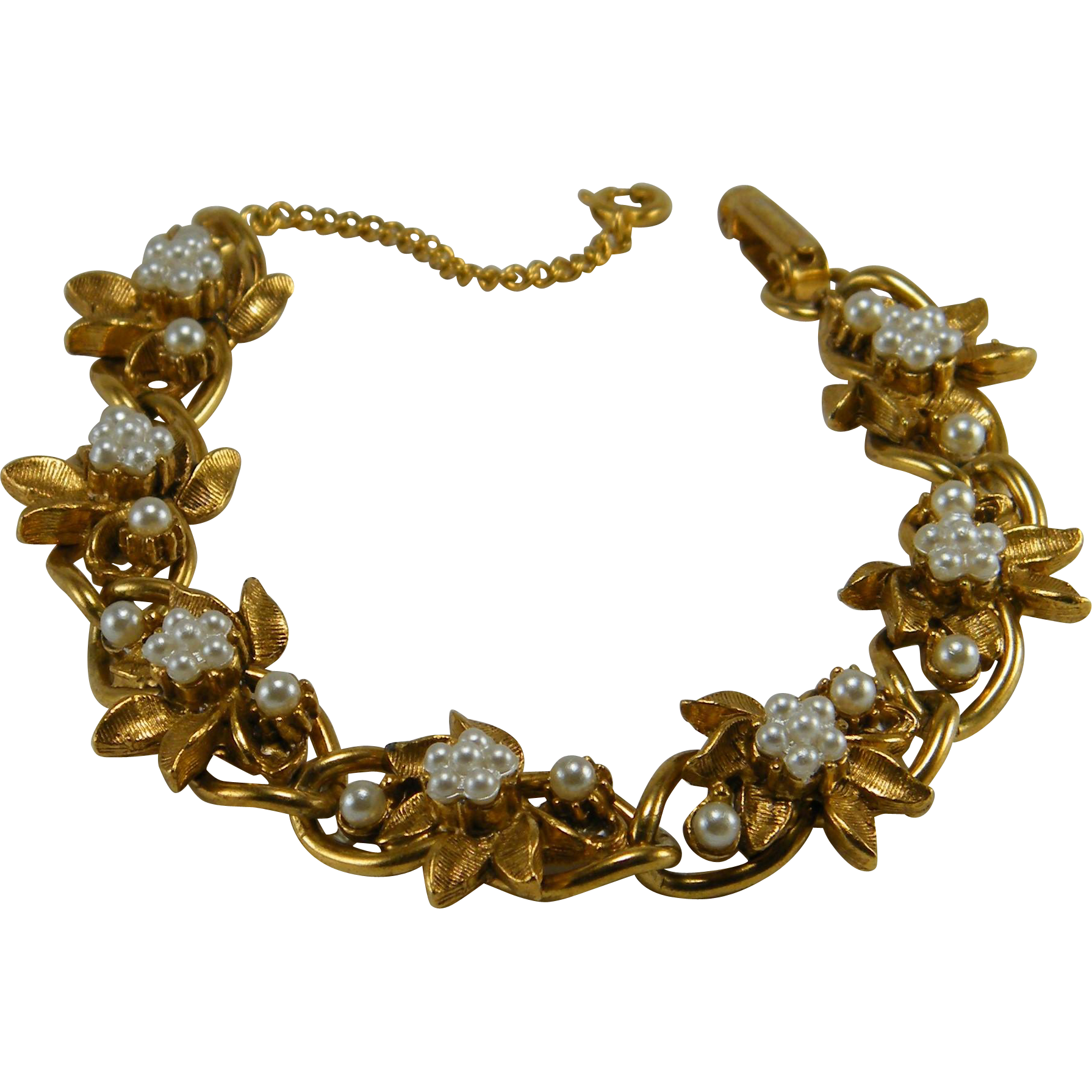 Florenza Faux Pearl Gold Tone Bracelet