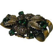 Dimensional Sash Pin Filigree Emerald Glass Stones