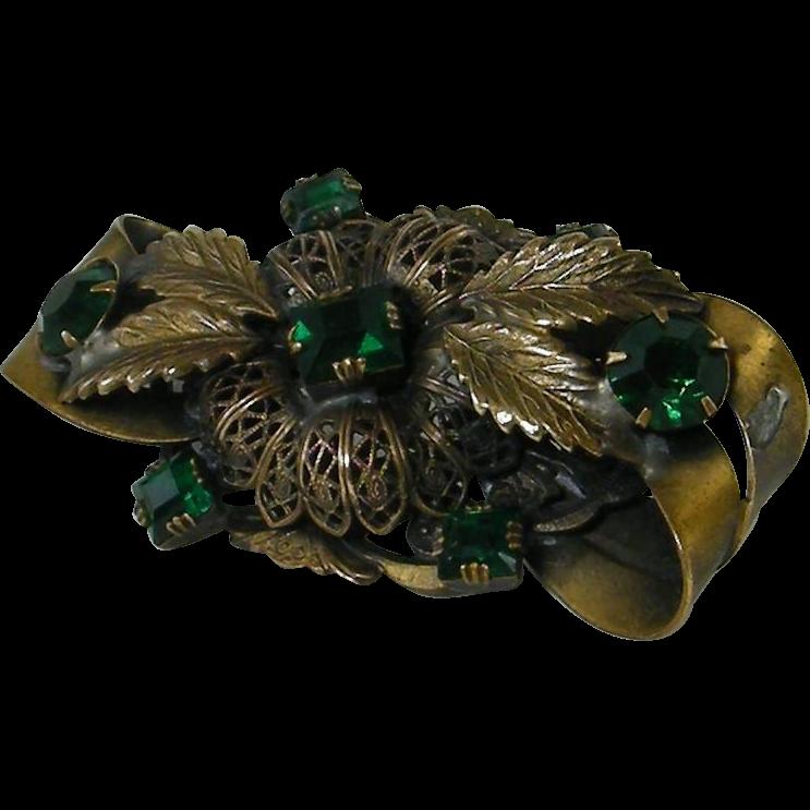Dimensional Sash Pin Filigree Emerald Glass Stones