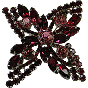 D&E Juliana Red & Pink Rhinestone Brooch Pin Starfish