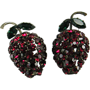Rhinestone Strawberry Domed Earrings