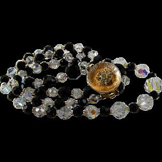 Black Glass AB Crystal Necklace Rhinestone Clasp 2 Strand