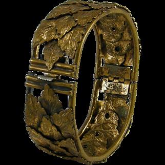 Layered Brass Leaves Bangle Bracelet