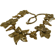 Bold Big Flower Gold Tone Necklace