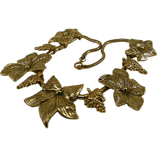 Bold Big Flower Gold Tone Necklace