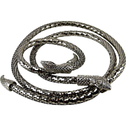 Whiting & Davis Silver Tone Mesh Snake Necklace Bracelet Set