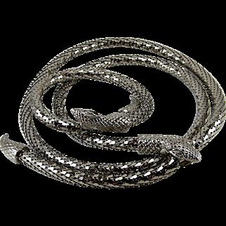 Whiting & Davis Silver Tone Mesh Snake Necklace Bracelet Set