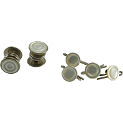 c1930 Carved Mother of Pearl Snap Links & 4 Cuff Buttons