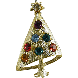 Modern Style Multi Colored Rhinestone Christmas Tree Pin