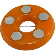 Butterscotch Bakelite Polka Dot Donut Brooch