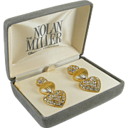 Nolan Miller Earrings 3 Sections Rhinestone Teardrop 2 Removable Hearts