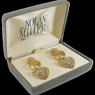 Nolan Miller Earrings 3 Sections Rhinestone Teardrop 2 Removable Hearts
