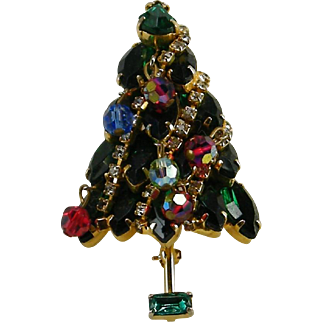 Christmas Tree Pin Green Navette Rhinestone Chain Garland Dangling Crystals
