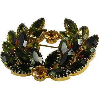 Juliana  D&E Brooch Two Color Navette Rhinestones Olive Rootbeer