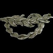 circa 1960s Schiaparelli Silver Leaf Necklace Bracelet Set