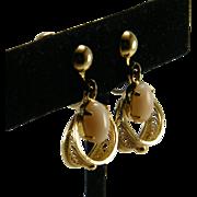 Sorrento Gold Filled Angel Skin Coral Filigree Hoop Earrings