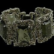 Sarah Coventry Smoky Gray Stones Silver Tone Bracelet