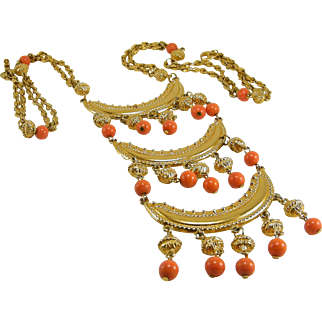 C1960s Egyptian Revival Gold Tone Crescents Coral Glass Drops