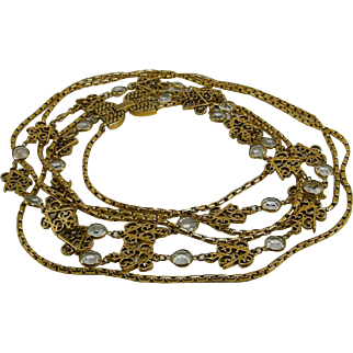 """3 Strand 31-34"""" Long Necklace Collet Crystals Filigree Like Stations"""