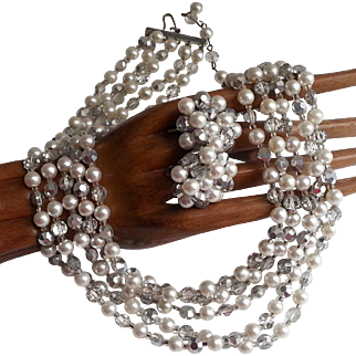 Vintage 5 Strand Necklace Earrings Silver Crystals Faux Pearls 1958 Ad