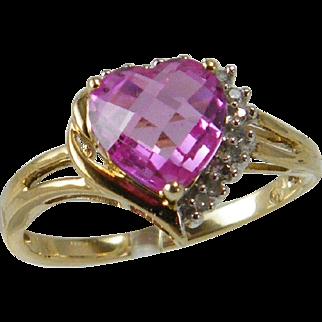 10 Karat Gold Ring Lab Created Pink Sapphire Heart Diamond Chips
