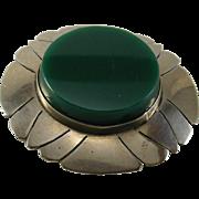Sterling Silver Modernist Design Mexico Green Stone Pendant  Pin