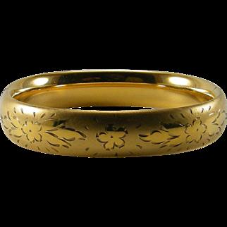 Vintage 12 K Gold Filled Etched Floral Bangle Hinged Bracelet