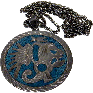 Sterling 2 Sided Mexican Pendant Inlaid Turquoise Aztec Warrior & Man Burro Abalone Inlay