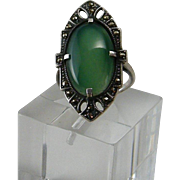 Art Deco Sterling Marcasite Chrysoprase Ring Size 7