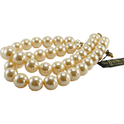 Vintage Two Strand Choker Necklace 14 mm Faux Pearls