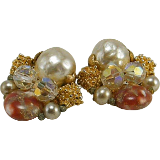 Wired Beaded Earrings Art Glass Faux Baroque Pearl AB Crystals