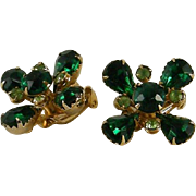 Unsigned Judy Lee Emerald Peridot Rhinestone Earrings