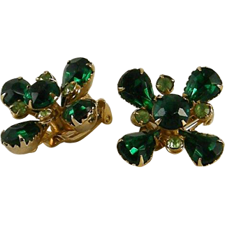 Unsigned Judy Lee Emerald Peridot Rhinestone Earrings