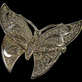 Filigree Germany Sterling Butterfly Pin Willi Nonnenemann