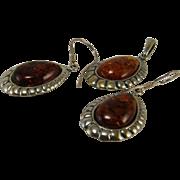 Vintage Three Piece Set Baltic Amber Sterling Earrings Pendant