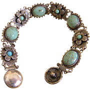 Turquoise Glass Cabochon Bracelet Flower Snap Closure