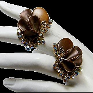 Vintage  Earrings Plastic Curved Petals  Drops of AB Rhinestones