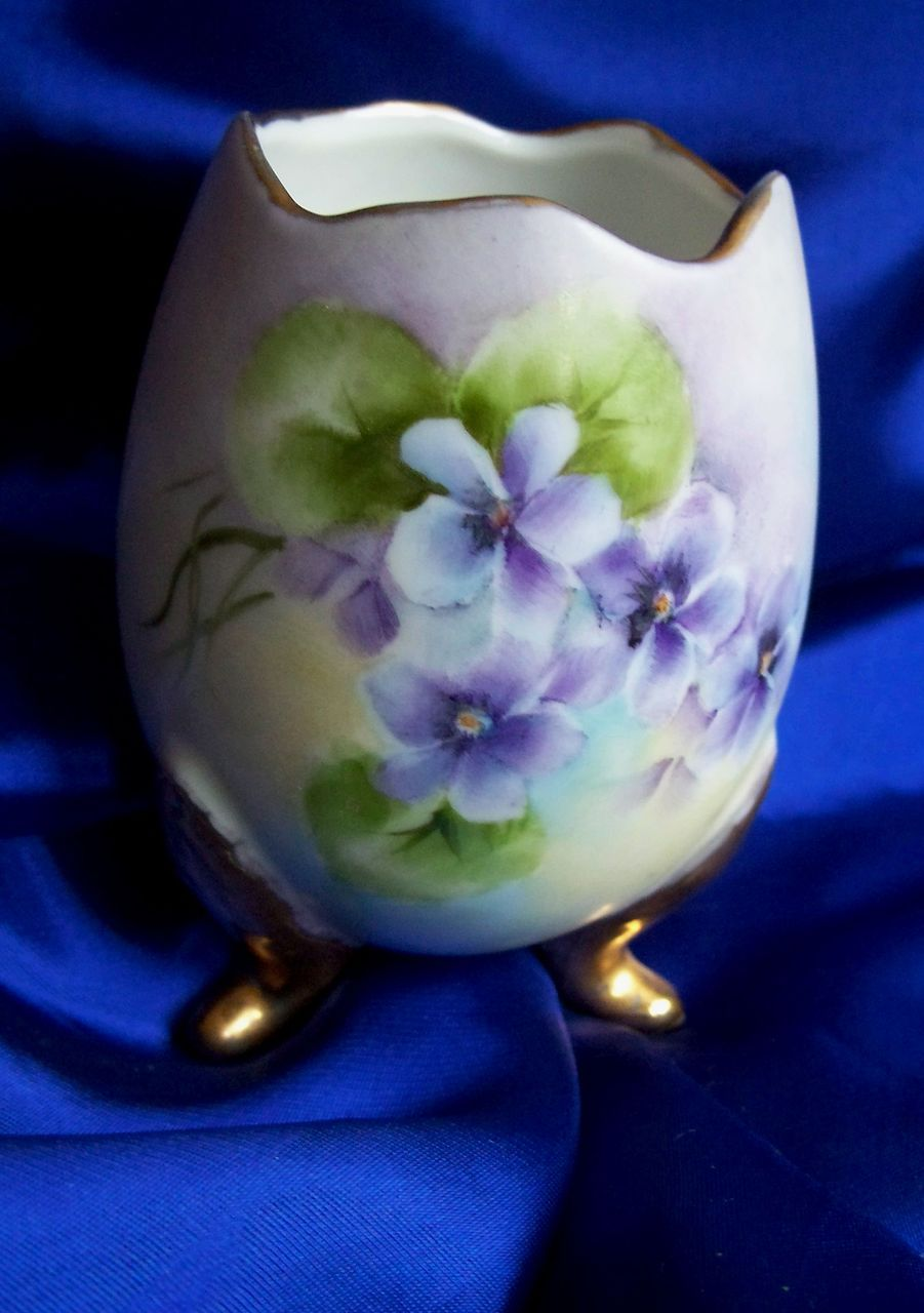 Porcelain Hand Painted Egg Vase in Spring Colors and Gold Trim